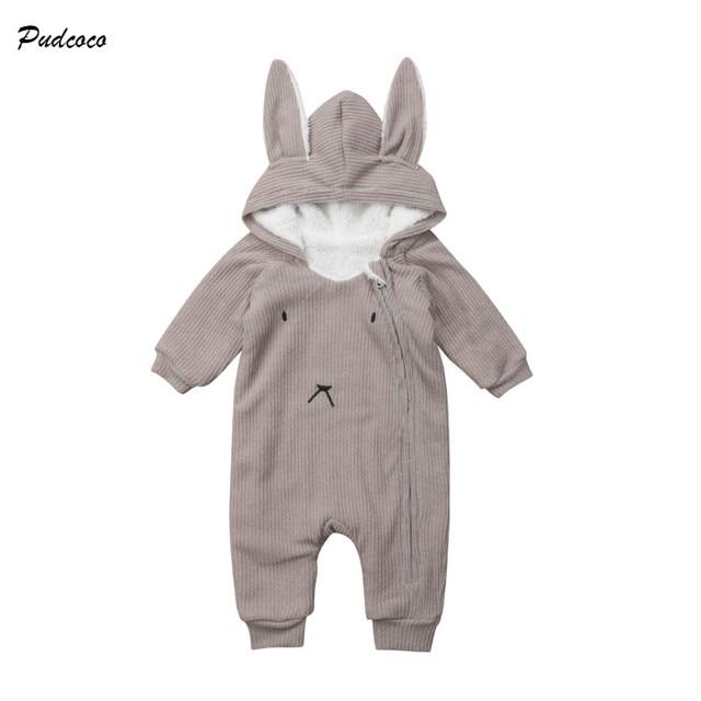 235879181fa Pudcoco recién nacido lindo bebé niña Otoño Invierno ropa manga larga conejo  capucha mameluco del mono