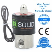 U.S. Solid 1/4 Stainless Steel Electric Solenoid Valve 24V DC Normally Closed water, air, diesel, CE Certified