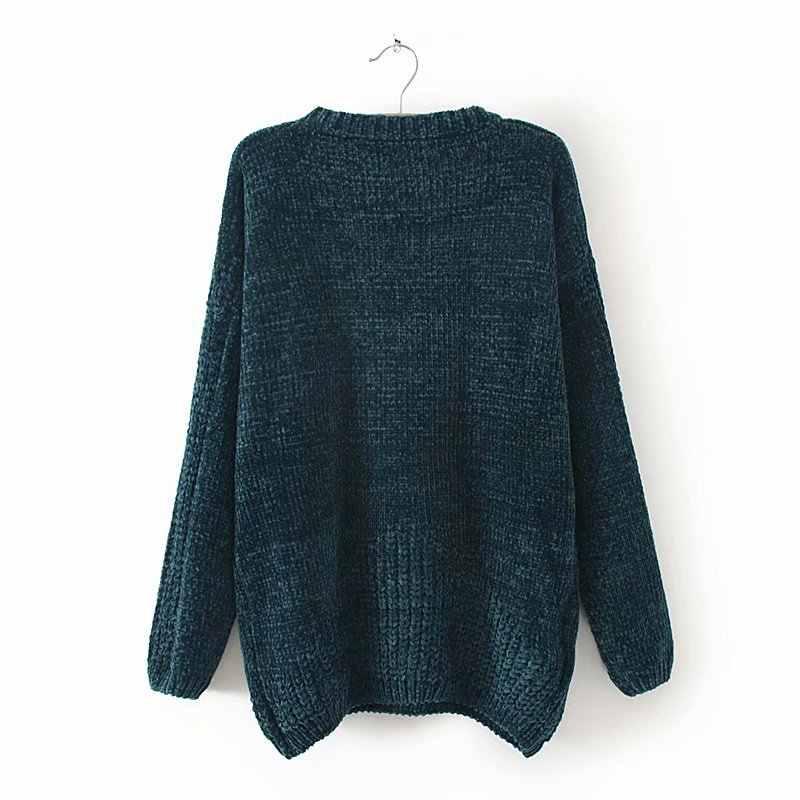 F42 осень-зима Свободные свитеры 3XL плюс Размеры женская одежда модные свободные пряжа синель Вязание пуловеры 8907