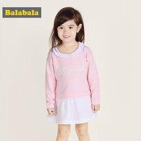 Balabala女の子のドレス2017夏のファッション綿の女の子服ドレスaラインプリンセスドレス子供長袖服衣装