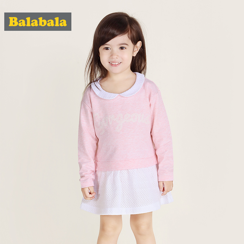 Balabala niñas vestido 2018 verano moda algodón Niñas Ropa vestidos línea a princesa vestido niños ropa de manga larga traje