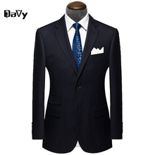 Wool Black striped Custom Made Men suit Blazers Retro gentleman style tailor made wedding suits for men Slim Fit Business Suit