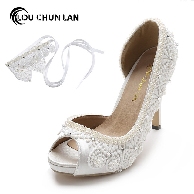 14e5e3cc684 Women Shoes Pumps Wedding Shoes Satin Lace Pearl Bridal Shoes Waterproof  High-Heeled Bow Knot Ankle Wristband Female 41 42 43