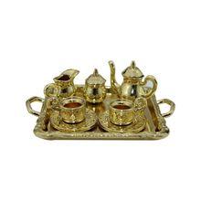 1: 12 миниатюрная мебель для кукольного дома столовая посуда игрушка 8 шт. металлический чайный сервиз чайник чашка тарелка длина 6,5 см