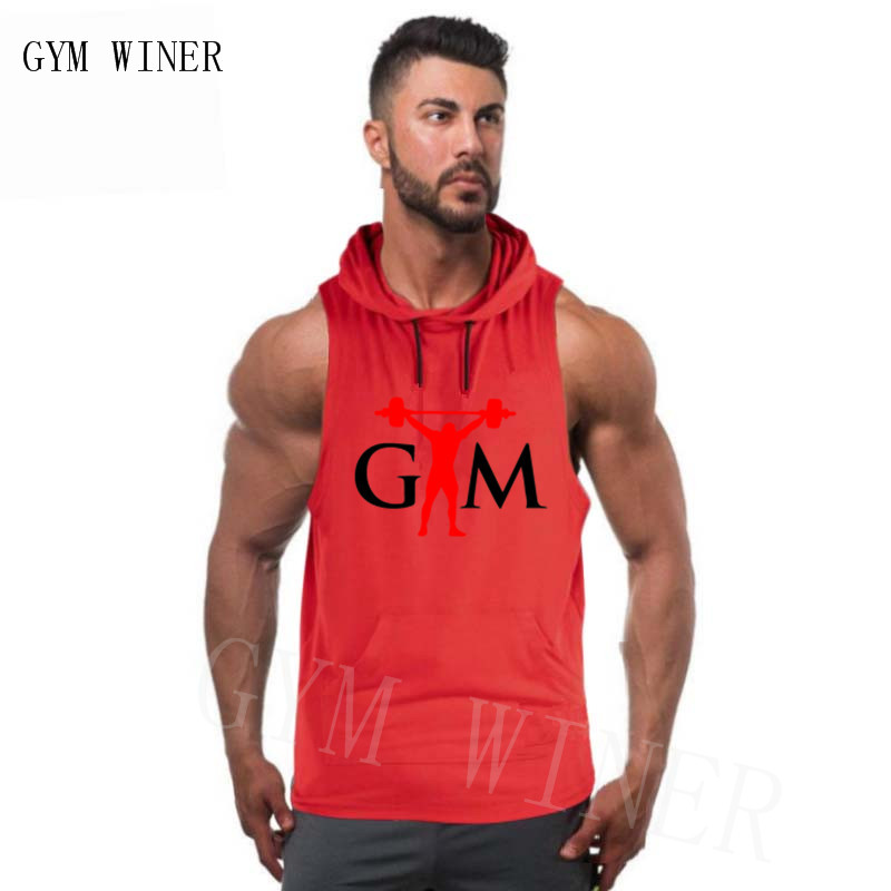 Men Bodybuilding Hood   Tank     Top   Cotton Sleeveless Vest For Training Gyms Fitness Workout Casual Fashion   Tops   Male Stringer Shirt