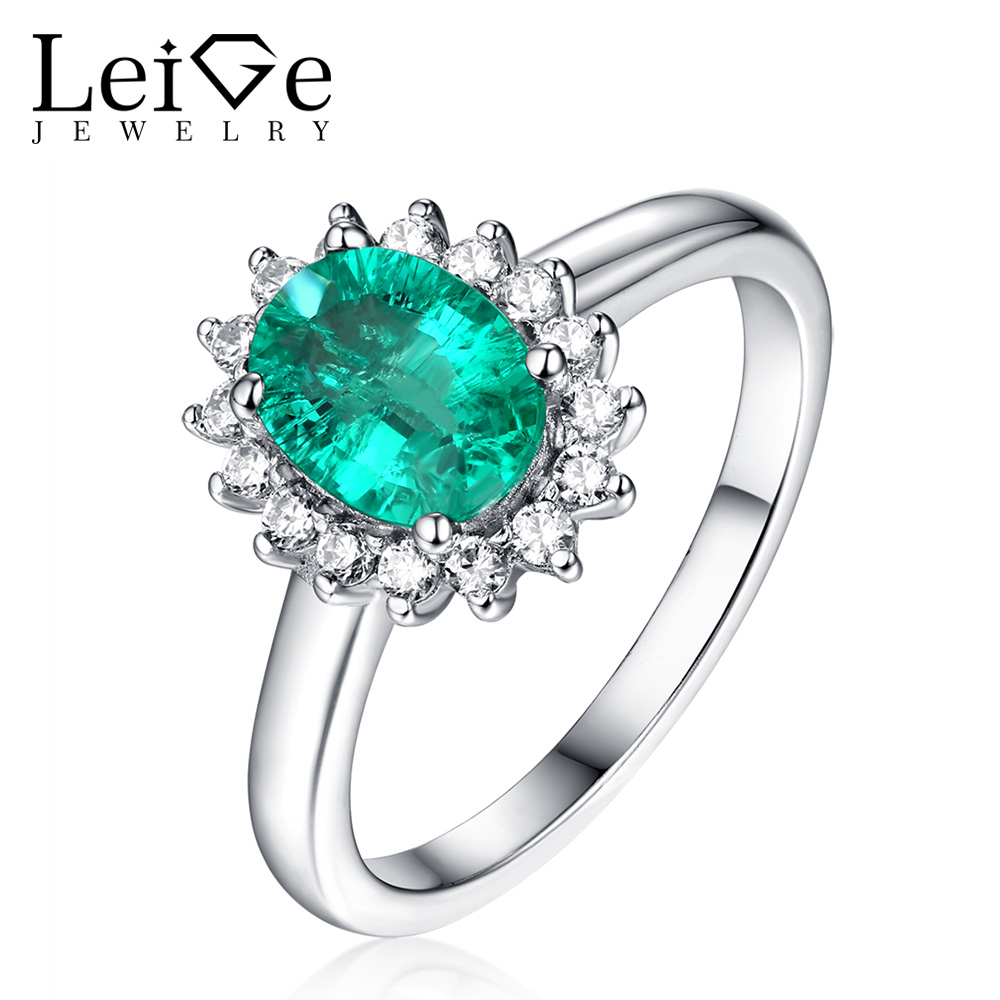 Leige Jewelry Halo Emerald Ring Oval Cut Prong Setting 925 Sterling Silver Wedding Anniversary Rings for Women Christmas Gift Leige Jewelry Halo Emerald Ring Oval Cut Prong Setting 925 Sterling Silver Wedding Anniversary Rings for Women Christmas Gift