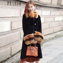 Ptslan 2016 Women's Real Lamb Fur Full Pelt Long Sleeve Jacket Long Coat