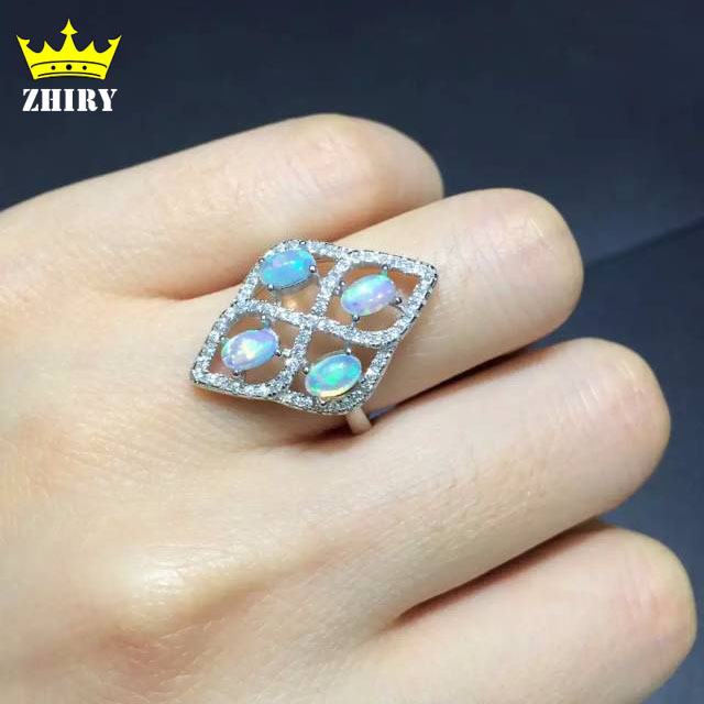 100% Natural fire Opal ring Genuine solid 925 sterling silver woman gem rings white gold plated stone fine jewelry 2018 new retro print two piece tankini swimsuit shorts plus size women swimwear sports push up bathing suit big size retro l 5xl