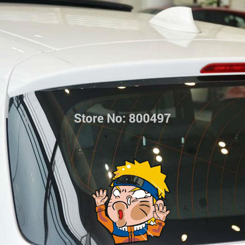 10 x Newest Car Styling Cartoon Naruto Hitting the Glass Car Stickers Decals for Toyota Chevrolet Volkswagen Ford Tesla BMW Lada