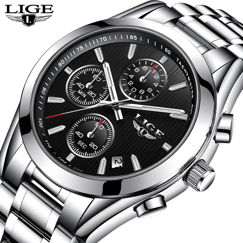 цены Masculino LIGE Watches Men Luxury Brand Chronograph Sport Military Quartz Watch Man Full steel Business Wrist watch Man Clock