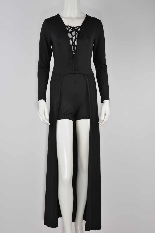 Женский комбинезон со шнуровкой дизайн с вырезами v-образный вырез макси женский костюм летние элегантные облегающие Комбинезоны Шорты Femininos черный Y898