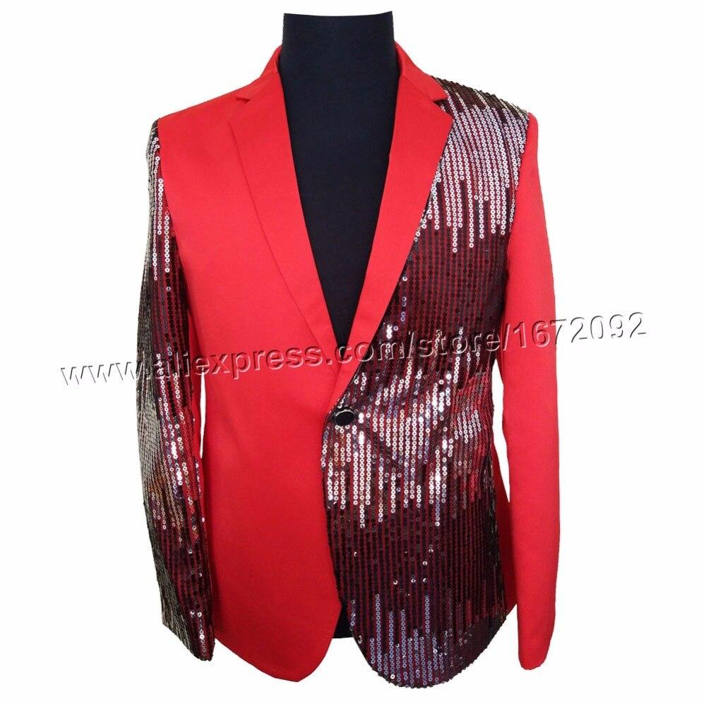 남성 재킷 무대 의상 남성 레드 스팽글 재킷 남성 terno masculino 재킷 남성