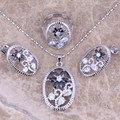 Super Black Created Sapphire White CZ Silver Jewelry Sets Earrings Pendant Ring Size 6 / 8  S0172