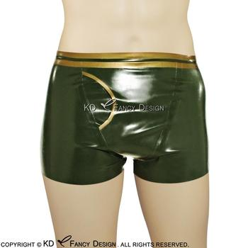 Olive green With Golden Sexy Latex Boxer Shorts Rubber Underwear Bottoms Pants DK-0101
