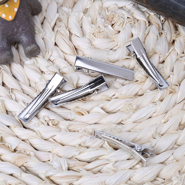 50Pcs DIY Barrette Teeth Hair Clips Utility  Flat Single Prong Alligator Clips 3.2cm/4.5cm/5.5cm