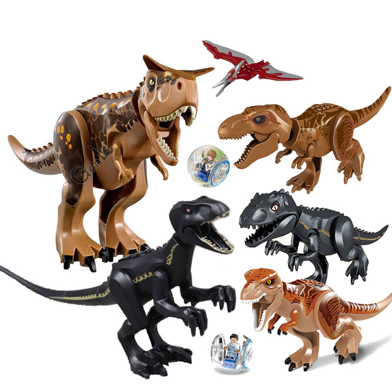 NEW Jurassic Dinosaur world Figures Carnotaurus Indoraptor Tyrannosaurs Rex Building Blocks Compatible with leGOING Dinosaur Toy