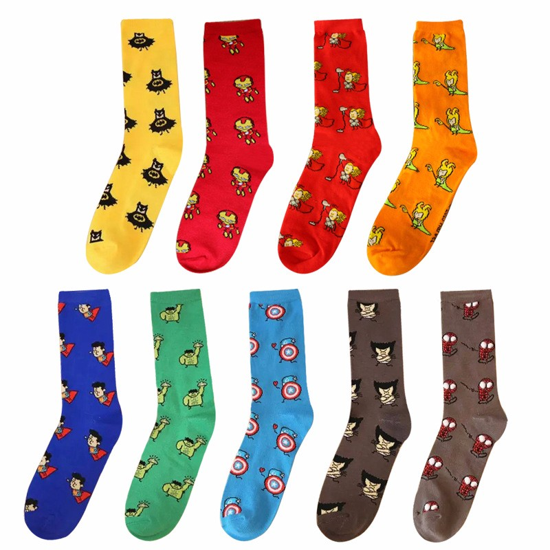 For Marvel ics Avenger Captain America Cartoon Socks Batman Superman Iron Man Hulk Socks Men Cotton