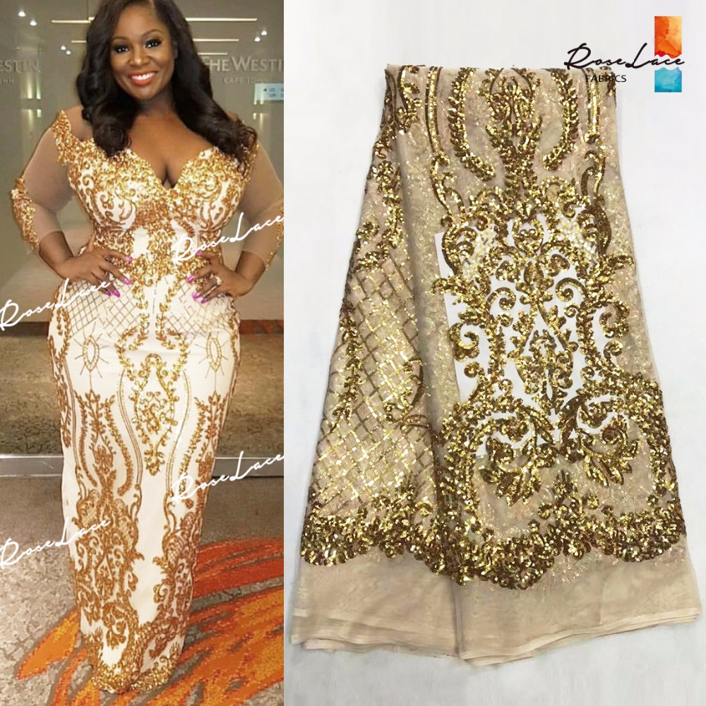 Gold Sequins Mesh Lace Fabric 2018 High Quality African Net Lace Wedding Fabrics Nigerian French Guipure