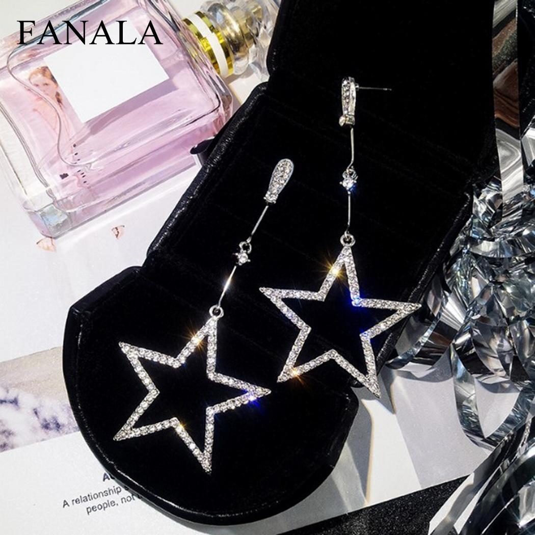 Artificial Elegant Women Diamond Pentagram Push Back Pendant Earrings