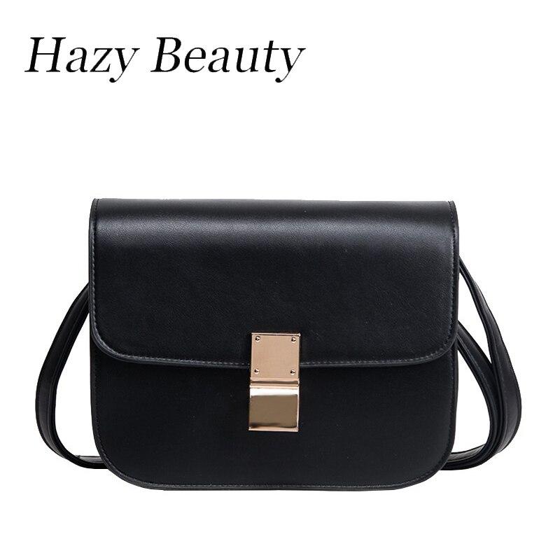 Hazy beauty hot design women pu leather flap classical  black box handbag super
