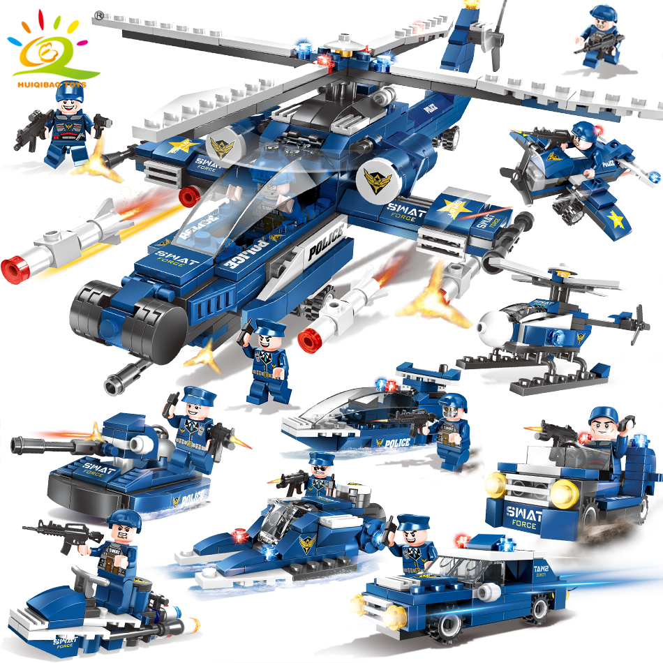 цена на 515pcs Swat Army Police Helicopter car Building Blocks Compatible Legoed city figures Weapon gun Educational Toys for Children