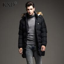 KXD Winter Men's Long Parkas Thick Hooded Fur Collar Coats Men Overcoats Casual Army Jackets Male Brand Clothing  Parkas Hombre