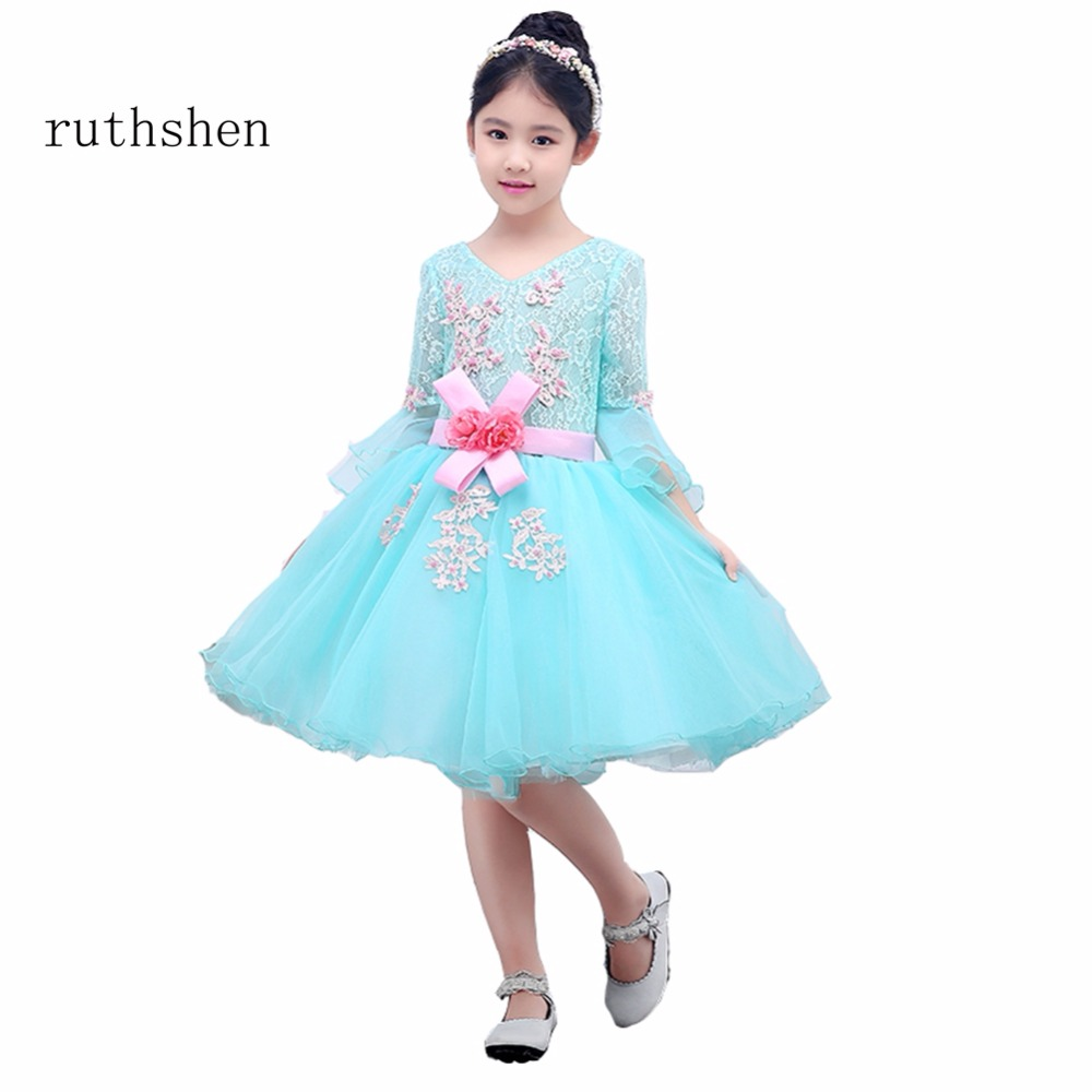 ruthshen The Real Photo Princess Latest   Flower     Girl     Dresses     Flower     Girl     Dresses   Floral Knee-Length Light Blue For 2-10   Girls