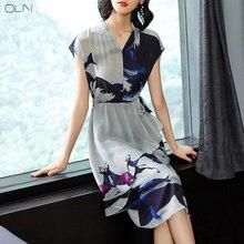 Hong Kong-style printed silk dress female summer waist sexy 2019 new V-neck