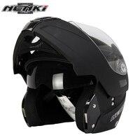 NENKI Matte Black Motorcycle Full Face Helmet Street Touring Motorbike Modular Flip Up Helmet With Dual