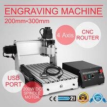 USB CNC routeur graveur gravure 4 axes 3020 T MACHINE de découpe USB PORT CUTTER
