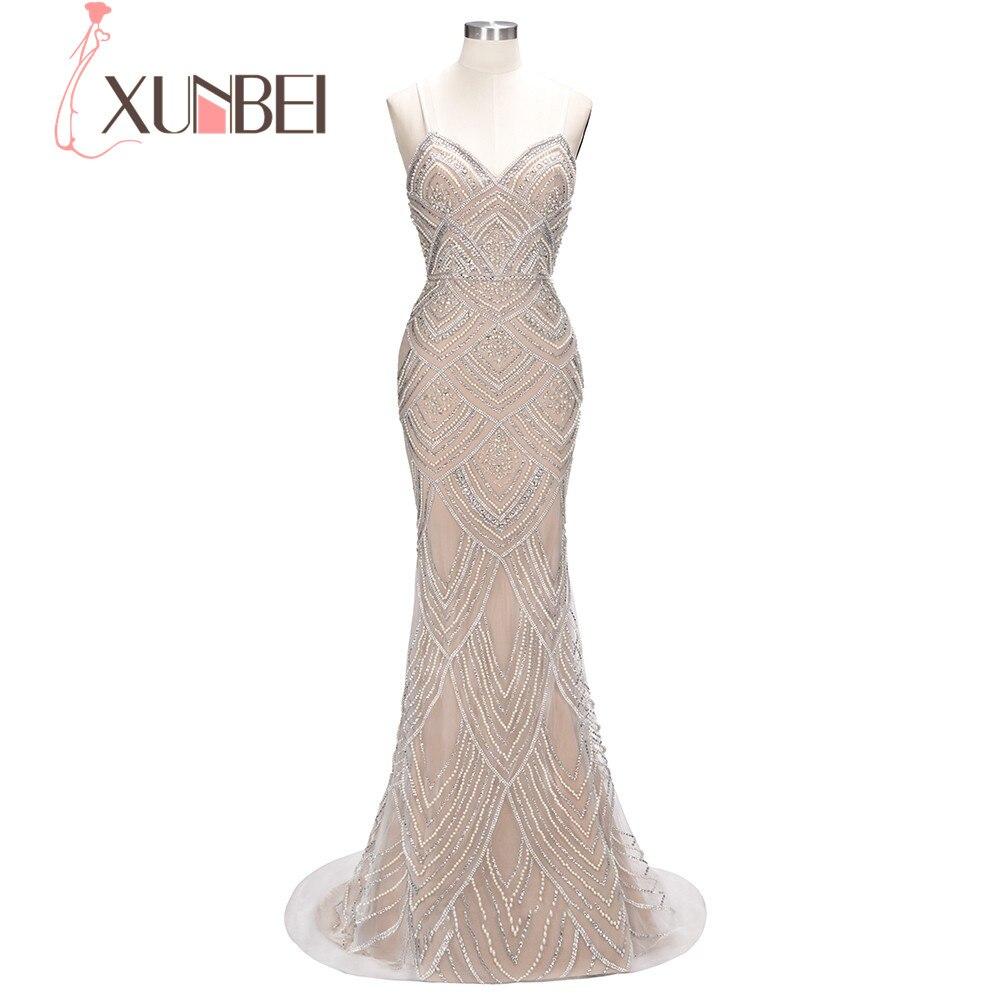2018 Magnifique De Luxe Lourd Cristal Perles Chérie Étage Longueur Sirène Robe de Soirée Massif Perles Élégante Longue Robe De Partie