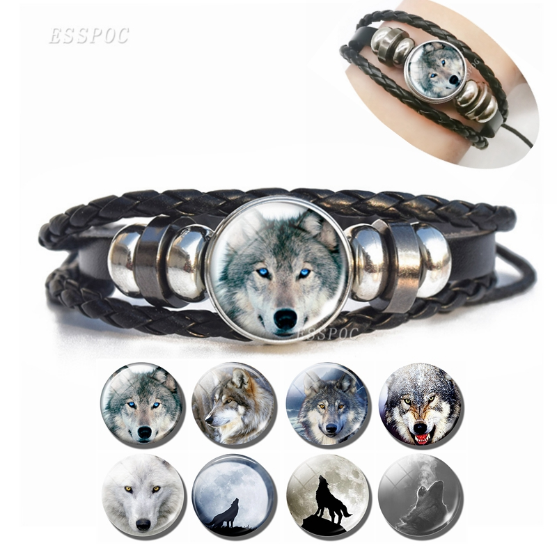 High Quality Men's Wolf Bracelets Hot Selling Wolf charm Leather Bracelets PU leather Bangle Gifts for Men Birthday image