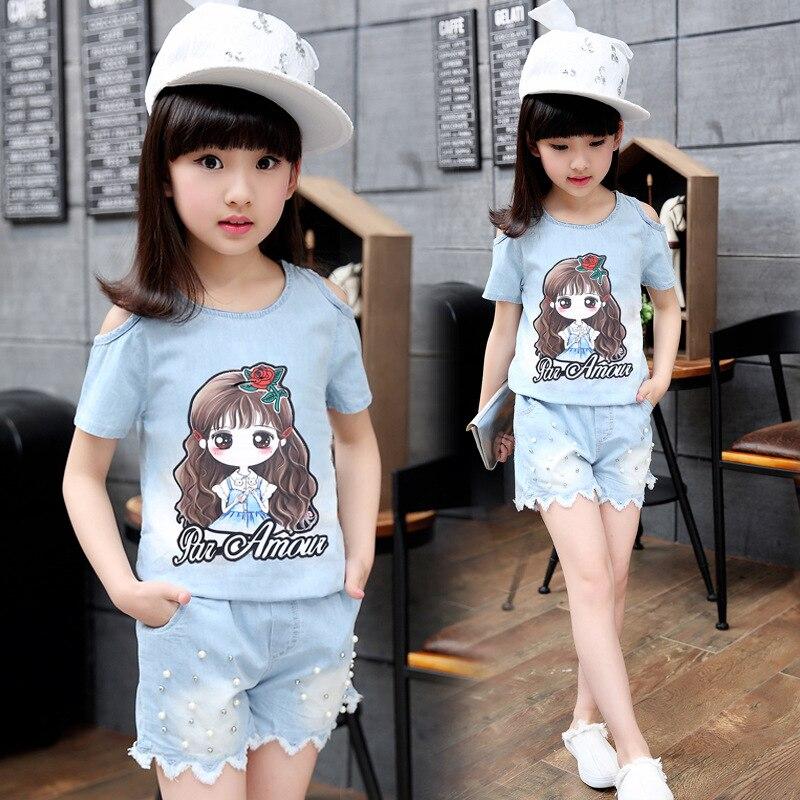 aa0fdff10 Ropa de niños niñas traje de verano 2019 moda de manga corta ropa de  mezclilla para niñas niños conjuntos 5 6 7 8 10 11 12 13 años