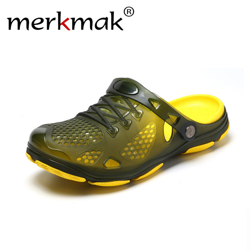 fd7fc0aeeeaabf merkmak Summer Shoes Jelly Shoes Beach Men Sandals Hollow Slippers  Breathable Men Flip Flops Outdoor Shoes