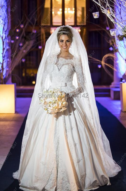 Elegant Court Train Lace Ball Gown Arabic Dubai Wedding Dresses Long Sleeves Traditional Muslim Dress