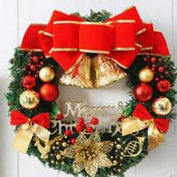 1X30cm Christmas Large Wreath Door Wall Hanging Ornament Garland Decoration Red Bowknot Christmas Decorations For Home
