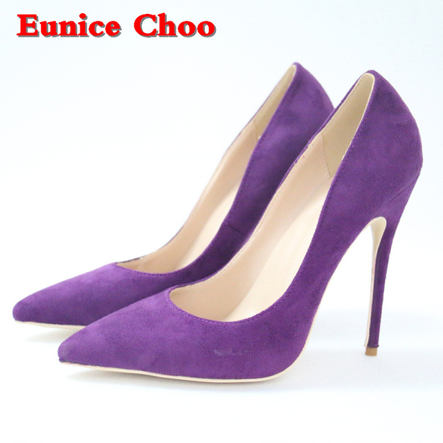 f3e40ea0b2b Purple Flock Stilettos High Heels Pumps Women 10 12cm Eunice Choo 2018 Lady  Spring Pointed Toe Slip on High-heeled Shoes
