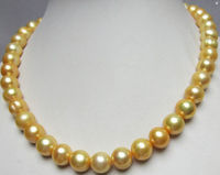 HUGE NATURAL SOUTH SEA 11 12MM GOLDEN / black PEARL NECKLACE 18 shipping free
