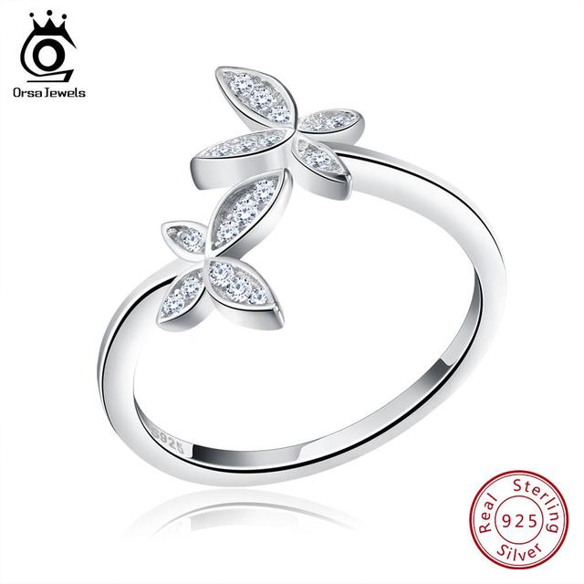 ORSA JEWELS Fashion Silver 925 Adjustable Rings Flower Design Sterling Silver Ring with Austrian Cubic Zirconia for Women SR10