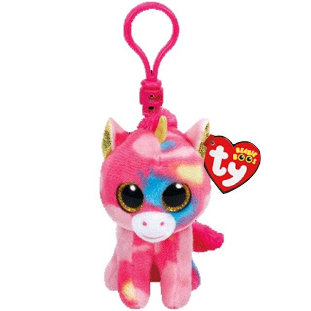 537b18fa102 Ty Beanie Boos Big Eyes Plush Pink unicorn Keychain Toy Doll With Tag 4
