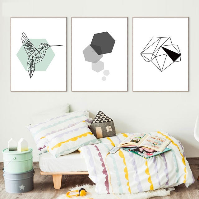 Nordic Art Geometria Ptak Plakat Na Plotnie Minimalizm Malarstwo