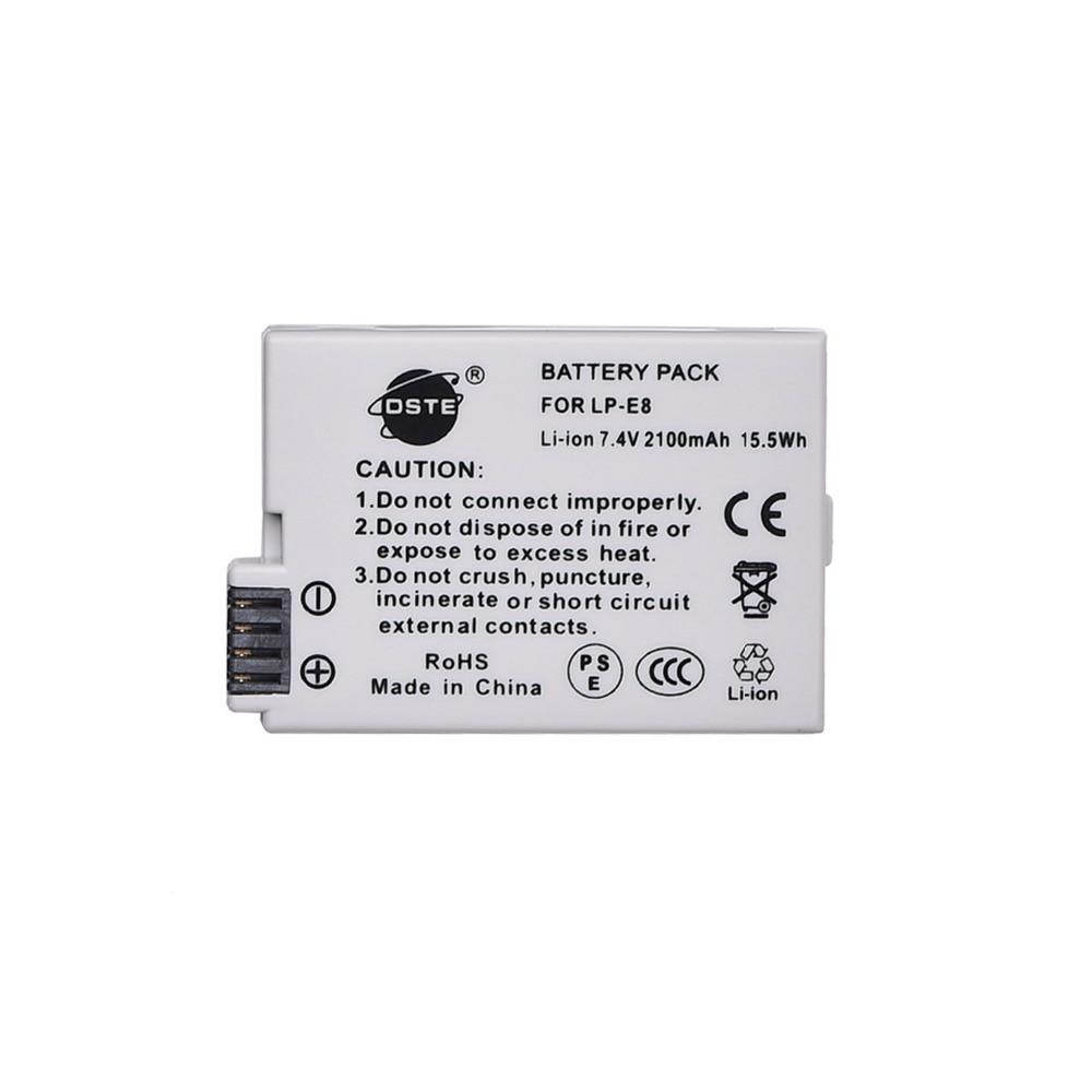 DSTE LP-E8 lp-e8 Camera Battery for CANON 550D 600D 650D 700D Digital X4 X5 X6i X7i Rebel T2i T3i T4i T5i