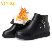 Women snow boots 2019 winter new genuine leather flat boots, wool warm non-slip mother boots, big size 41 42 43 women's boots недорого