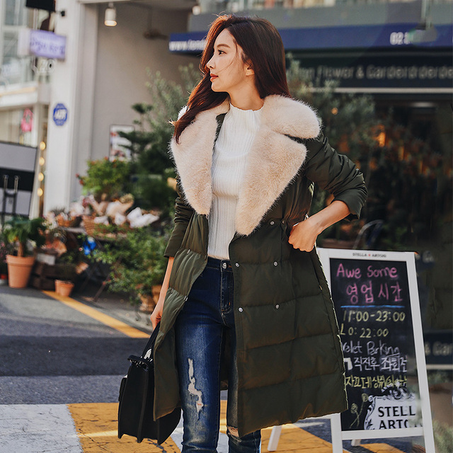 Dabuwawa Winter Fur Collar Long Down Coat Women Tailored Collar Double-breasted Warm Outwear