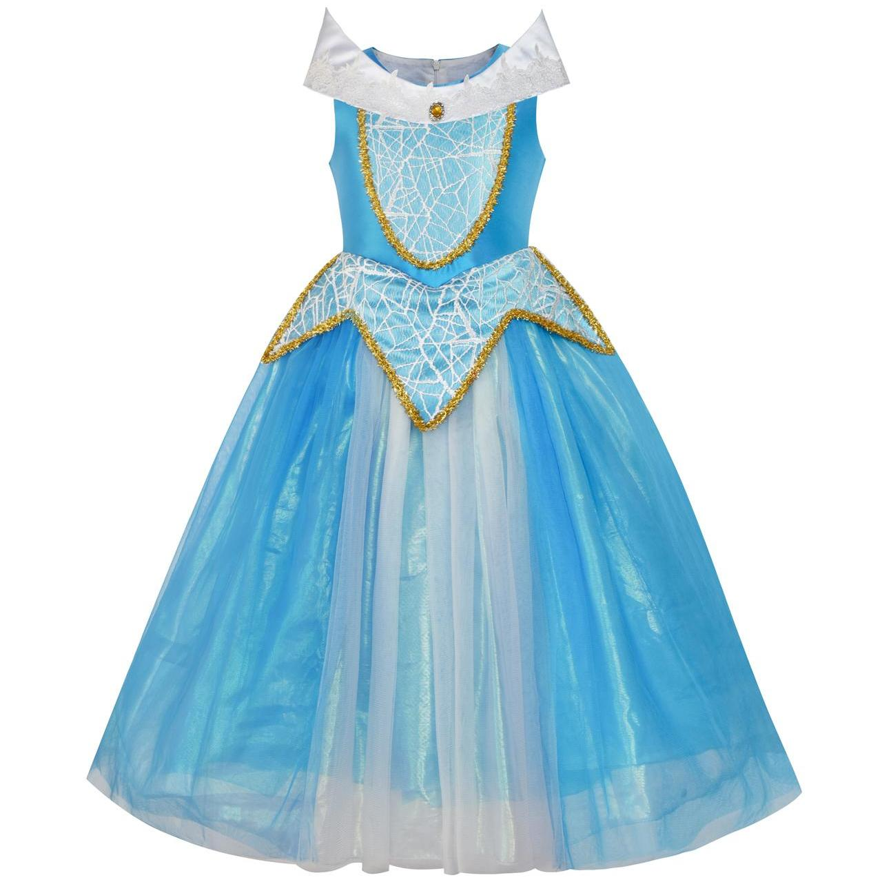 Sunny Fashion Princess Aurora Costume Briar Rose Dress Up Blue 2018 ...