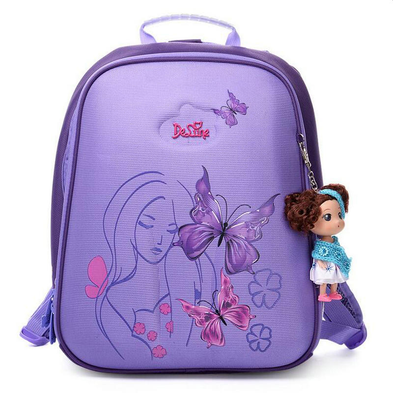 Russian Brand Delune Pupil Schoolbag Girls Children Butterfly Backpack Hard shell Protection Ridge Special Back design SchoolBag