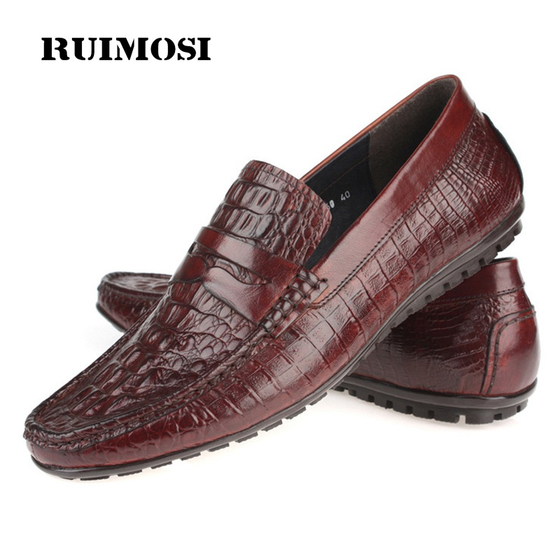 RUIMOSI Man Crocodile Flat Heels Casual Creepers Shoes Genuine Leather Comfortable Loafers Round Moccasin Men's Footwear CE18