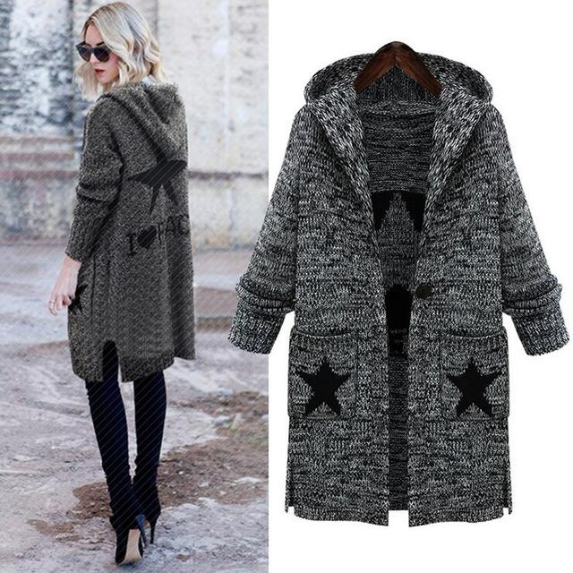 Big Size Cardigan 2016 Autumn Winter Pockets Stars Print Casual Knitted Long Sweater Coat Gray L-5XL Plus Size Women Clothing