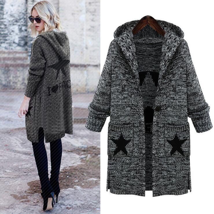 Queechalle Big Size Cardigan 2018 Autumn Winter Pockets Stars Print Casual Knitted Long Sweater Coat Plus Size Women Clothing