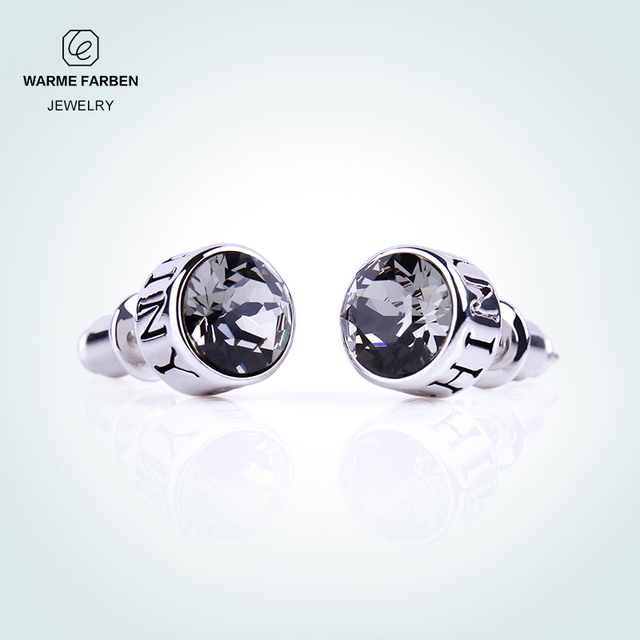 Warme Farben 925 Silver Stud Earrings For Men Jewelry Brincos Unisex  Crystal From SWAROVSKI Black Push-back Punk Man 's Earrings